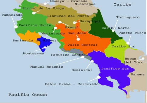Costa Rica Travel Information - Map of us vacation spots