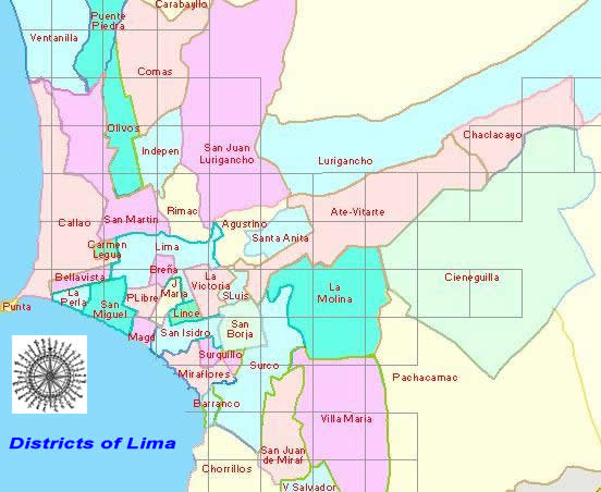 Map Of Lima Peru Districts Lima Peru Map