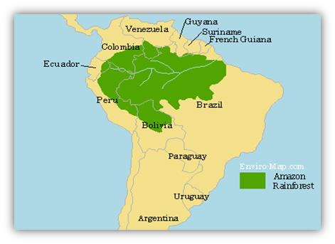 Map Of Amazon Rainforest Amazon Rainforest Map