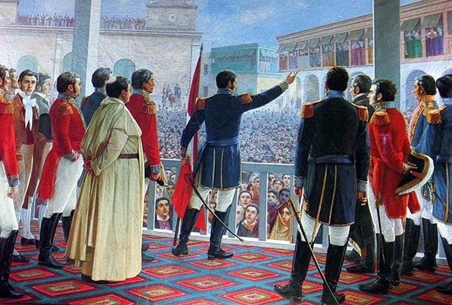 Peru Independence day painting