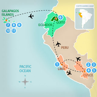 11 Day Tour to Machu PIcchu & Galapagos Islands The Galapagos Islands Map on