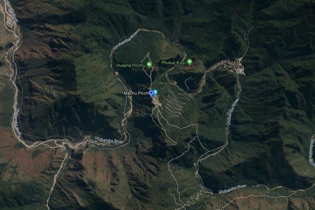Machu Picchu satelital map